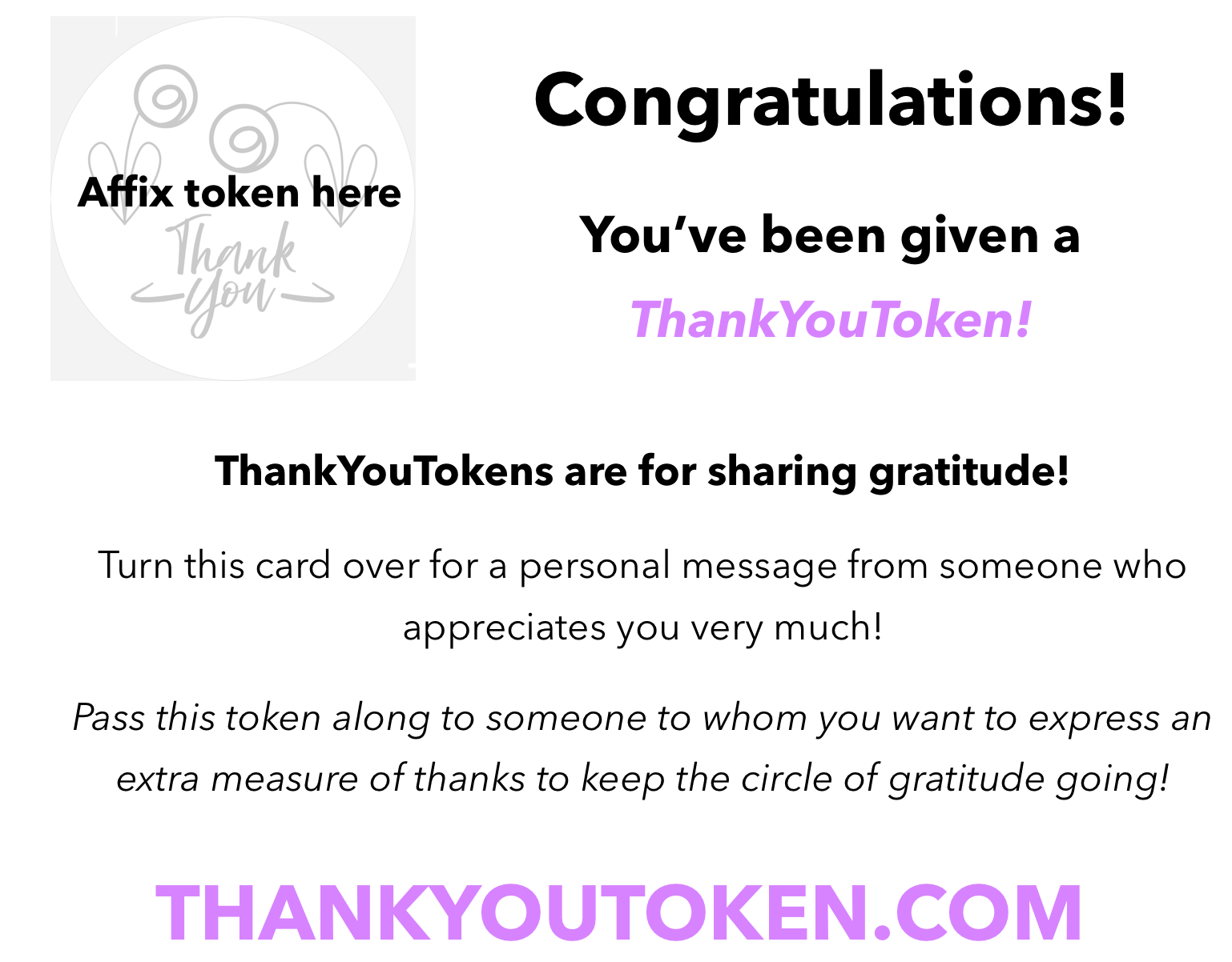 photo relating to Printable Tokens identified as Thankful Supplies Thank On your own Token